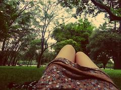 No more runnin' (Sunday-Cake) Tags: park brazil tree green girl beautiful brasil skinny break dress legs forrest sopaulo ibirapuera skinnylegs braziliangirl