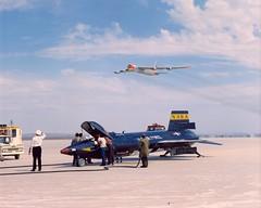 Bell X-15 Rocket Plane and Boeing B-52 Flyover (Public Domain) (KurtClark) Tags: bell nasa rocket boeing usairforce b52 publicdomain x15 stratofortress sept1961