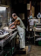 Fishman (Nick Pemberton) Tags: japan market tokyo process man
