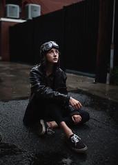 Allie (Bryce France) Tags: beauty girl woman portrait art artist concept color canon sigma 35mm 14 mood rain rainyday