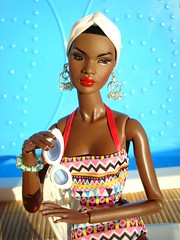 Nadja enjoying the sun (Deejay Bafaroy) Tags: fashion royalty fr integrity toys doll puppe barbie outofsightnadjar outofsightnadja outofsight nuface nadja cinematic convention portrait portrt black pink rosa blue blau green grn earrings ohrringe headscarf kopftuch turban red rot lips lippen sunglasses sonnenbrille outdoors draussen sunny sonnig summer sommer swimsuit badeanzug badekleid