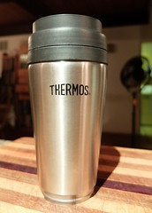 Thermos (Jo Zimny Photos) Tags: flickr bingo4 wk57 b10 insulated metal plastic cup thermos black silver old flickrbingo4b10