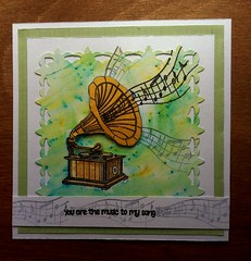 Vinyl Record Day (CraftyBev) Tags: card cardmaking stamping decoupage diecut brusho paints
