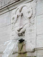 Confused Lion Fountain in Riverside Drive Park 3780 (Brechtbug) Tags: confused lion fountain riverside drive park 08212016 part the firemans memorial water fountains profile new york public parks 100th street nyc statues sculpture summer weather art architecture statue stone cool blue clear refreshing lions animal animals falling waters 2016