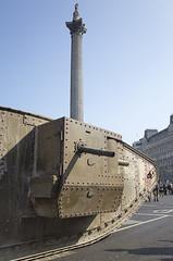 100th Anniversary of the Tank (louisberk.com) Tags: nelsons column mark 1 tank bovington 100th anniversary central london trafalgar square september 15th 2016 1916 commemoration trees wwi world war one