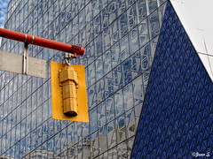 Abstraction (Jean S..) Tags: abstract streetlight windows outdoor toronto yellow red blue