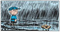 Floating away (Tom Simpson) Tags: peanuts charliebrown comics comicstrip vintage illustration charlesschulz charlesmschulz rain raining baseball funny 1955 1950s art