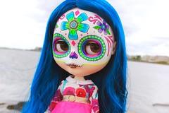 ignacia (cybermelli) Tags: blythe doll custom calavera dayofthedead blue hair
