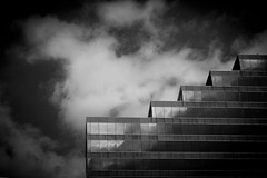 Oomph (Bert CR) Tags: city street architecture building disparities angular excitement reflection blackandwhite blackwhite monochrome skancheli continuation contrast clouds inspiration oomph