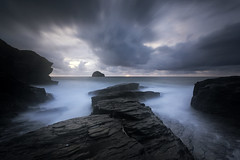 Dusk Light II (Kathy ~ FineArt-Landscapes) Tags: longexposure trebarwithstrand cornwall britain cloud storm water ocean sea rocks moody outdoors