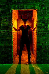 Hell hath no fury like a woman with horns! (Waving lights in the dark) Tags: mask horn horns extensive collection collaboration lightpainter lightpainting hell fury woman backlit backlighting devil cosplay wavinglightsinthedark orange green