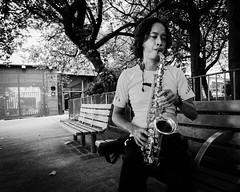 Sax practice in Kwun Tong (Hong Kong Eye) Tags: nikoncorporationnikond810 hongkong saxophone candid sax monochrome people sep2016 streetphotography kwuntong blackandwhitephotos blackandwhite monotone garyjones