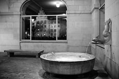 sightseeing zurich (Toni_V) Tags: city winter bw fountain monochrome night reflections schweiz switzerland blackwhite dof suisse zurich brunnen rangefinder zürich stadthaus helmhaus summiluxm 2013 35mmf14asph iso2500 35lux messsucher ©toniv 130202 leicam9 mygearandme l1010739 rundbrunnen