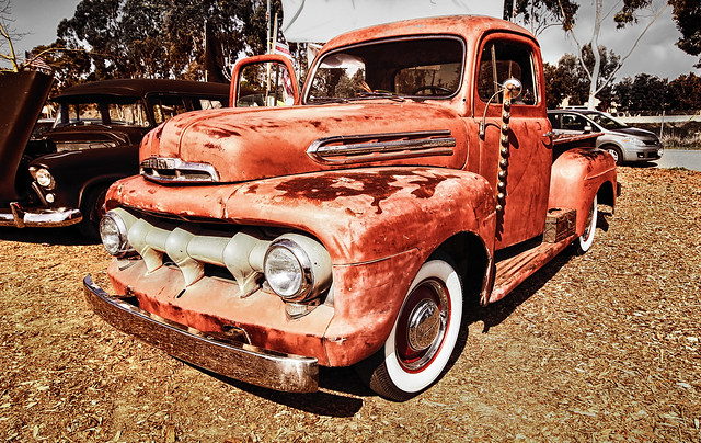 auto classic ford wheel truck work vintage 1930s rust automobile farm rusty pickup automotive f1 1940s classiccars 1951 fordtruck unrestored worktruck stepside fseries
