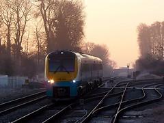 Sunrise at Gobowen (Jim the Joker) Tags: train railway hippo atw arrivatrainswales class175 gobowen 175109 1w82 oswestrybranchline