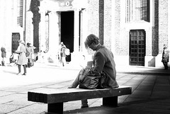 RELAX IN FRONT OF SANTA MARIA DELLE GRAZIE (skech82) Tags: street white black milan church bench photography strada foto milano tram persone chiesa di bianco nero panchina skech82
