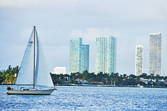 Biscayne Bay (ctberney) Tags: sailboat florida miamibeach biscaynebay niceweather miamiskyline