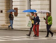 4 people with 3 umbrellas (doddsjzi) Tags: people photo rainyday pedestrians umbrellas folks charlestonsc