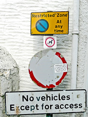 UK Traffic Sign: Restricted Zone and No Vehicles (SONICA Photography) Tags: road uk signs photography photo cornwall foto photos photographic photographs photograph fotos roadsign trafficsigns polperro photograf fotograaf photographes 2011 atanytime novehicles restrictedzone southcornwall exceptforaccess panasonicdmctz3 ukroadsign polperrotramcompany novehiclessign eztd eztdphotography uktrafficsign uktrafficsigns photograaf caradondistrictcouncil