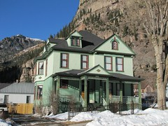Victorian in green (jimsawthat) Tags: winter snow mountains architecture colorado victorian residence enhanced smalltown sanjuanmountains ouray architecturaldetails