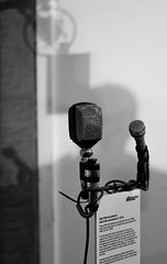 Abbey Road: AKG Mics (The_Kevster) Tags: leica light blackandwhite bw music london monochrome studio stand wire shadows bokeh rangefinder boom pinkfloyd microphone beatles abbeyroad emi recordingstudio summicron50mm abbeyroadstudios leicam9 2013march