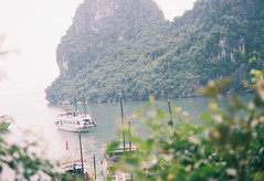Halong Bay (mayrpamintuan) Tags: ocean travel sea summer sky sun mountain lake mountains green film tourism beach nature water analog asian boats outside outdoors island islands bay boat lomo lomography junk asia vietnamese tour view natural kodak outdoor grain lofi sunny tourist vietnam greens waters grains analogue grainy fujica province lowres halong halongbay ultima junks lowfi citytour fujicast605n kodakultima100 kodakultima