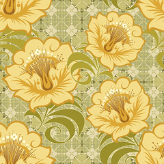 Free Floral Seamless Vector Background (vectorbackground) Tags: autumn flower green art love nature floral beauty fashion modern illustration butterfly garden design leaf artwork bedroom branch blossom background curtain decoration fabric daisy backdrop baroque decor infinite flourish endless continuous