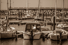Boats Of Ystad (Mabry Campbell) Tags: water sepia marina boats photography coast harbor photo skne spring europe sweden may coastal photograph 100 sverige sailboats scandinavia toned springtime 2012 ystad 200mm skane f32 southernsweden southsweden ef200mmf28liiusm sec mabrycampbell may202012 tipofsweden 201205200258