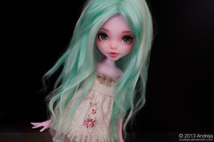 Wig no.3 - Mint/blonde alpaca (***Andreja***) Tags: alpaca monster high handmade mint wig dreams suri repaint andreja nicolles draculaura monsterhighcustomandrejaann