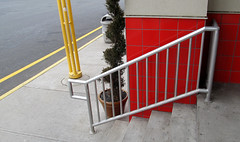 //||//||||||||||||| (SA_Steve) Tags: red green lines yellow metal wall stairs tile newjersey pattern railing restarea linear