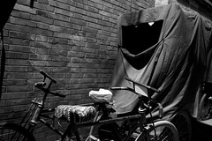 Beijing Night (James_Ting) Tags: china street blackandwhite bw building night tricycle chinese beijing sureal hutung