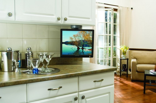 TV-Sony-Under-White-Kitchen-Cabinet