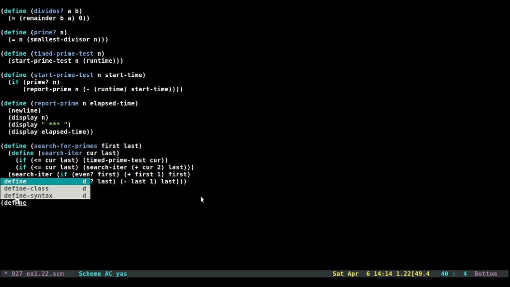 Autocomplete emacs