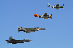USAF Heritage Flight F-22A Raptor P-51D Mustang P-47D Thunderbolt QF-4E Phantom II (Sonic Images) Tags: show heritage field wings texas air flight over houston ii raptor mustang phantom usaf 2012 thunderbolt p51d ellington p47d f22a qf4e