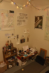 corner pile / art desk / dog bed (Wizard Fight) Tags: dog david art sign one lyrics bed paint shot gonzales desk painter supplies thrasher oneshot comadre