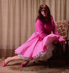 Pondering the universe (bee.ceedee) Tags: pink cd polkadots petticoat circleskirt