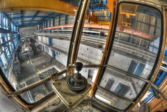 joystick (Kriegaffe 9) Tags: windows abandoned glass high view crane decay dirty joystick fisheye girder samyang pyestock cell3 cntroller