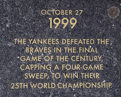10/27/1999 FINAL GAME OF THE CENTURY Old Yankee Stadium Historical Plaque, Ruppert Plaza, Bronx, New York City (jag9889) Tags: park city nyc ny newyork century plaque baseball stadium bronx granite marker historical yankee yankees legend braves shea worldchampionship nycparks heritagefield macombsdampark oldyankeestadium gameofthecentury ruppertplaza 10271999