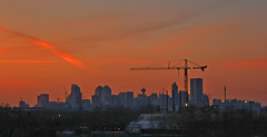 Calgary Skyline @ Sunset (Prayers for the Boston Marathon Bombing Victims) (LostMyHeadache: Absolutely Free *) Tags: trees sunset sky urban calgary love skyline architecture clouds canon buildings hope construction downtown peace crane structures davidsmith calgaryalbertacanada eos60d prayersforthebostonmarathonbombingvictims