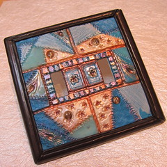 peacock crazy quilt mosaic switchplate (Marie_Young_Creative) Tags: gallery quilt switchplate polymer pcagoe