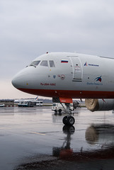 Nose view (n_dunaev) Tags: rain weather clouds airplane shower spring airport russia moscow aircraft cargo airlines tu spotting dme tupolev planespotting domodedovo transaero tu204