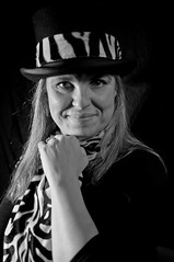 Yolanda - top hat 7 (Richard Amor Allan) Tags: lighting blackandwhite bw hat stripes tophat zebra experimentation yolanda zebrastripes zebrapattern willfieldcameraclub yolandaamorallan
