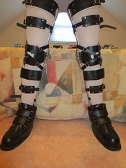 Legs Slightly Parted, Locked Straight (KAFOmaker) Tags: leather fetish braces boots leg confine bondage medical cuff buckle brace straps bracing restraint orthopedics restrain orthopedic strapped braced strapping restrict restaints