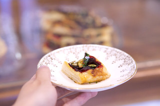 Fantail - phyllo pastry with roasted beets, pumpkin seeds, and herbs