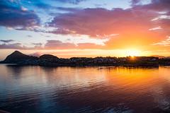 Midnight Sun in lesund (Viv Lynch) Tags: city cruise eu europe eurotrip holiday landscape travel urban vacation lesund alesund sun sunset midnightsun fjord colour mountains sea ocean nordic scandinavian nature