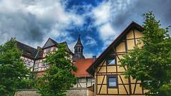 Old town magic (RainerSchuetz) Tags: church steeple churchtower oldquarter halftimberhouse fachwerk hofgeismar