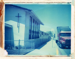 San Ysidro, CA (moominsean) Tags: polaroid 190 instant type108 expired012000 california sanysidro sandiego truck church
