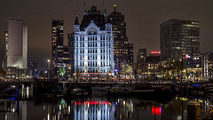 """The """"Witte Huis"""" by Night (R. Engelsman) Tags: hetwittehuis wittehuis witte huis whitehouse nachtfotografie oudehaven architecture building buildingcomplex rotterdam rotjeknor 010 netherlands nederland holland monument wolkenkrabber artnouveau rijksmonument westermeijer night skyline waterfront nightphotography canon eos 650d led city"""