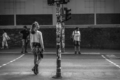 Waiting & Looking (Urban Footfall - Street Photography) Tags: streetphotography attractive man candid people bw woman kreuzberg berlin friedrichshain monochrome blackandwhitephotoghraphy peoplephotography