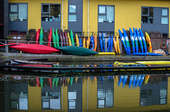 camden kayaks (angie pineappletree) Tags: summer water regentscanal canal boats reflection camdentown london england unitedkingdom